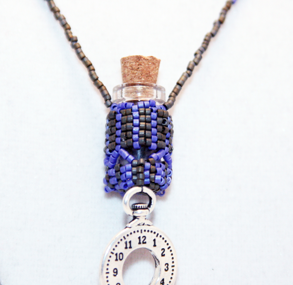 Beaded Bottle Necklace Blue and Gray with Clock Charm
