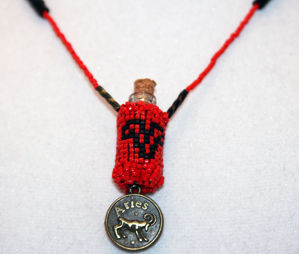 Beaded Bottle Aries Necklace in Red and Black with Medallion