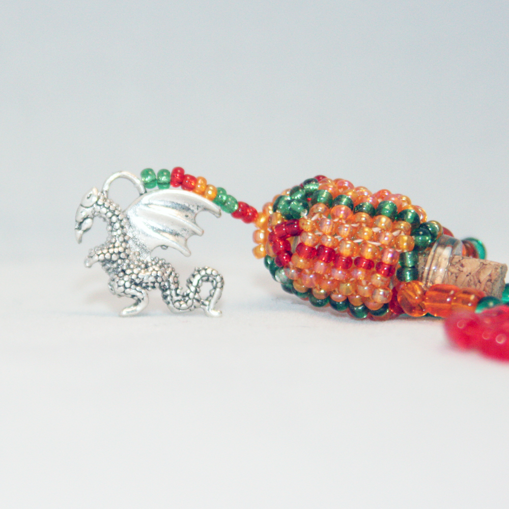 Beaded Bottle Dragon Necklace in Red, Green, and Orange
