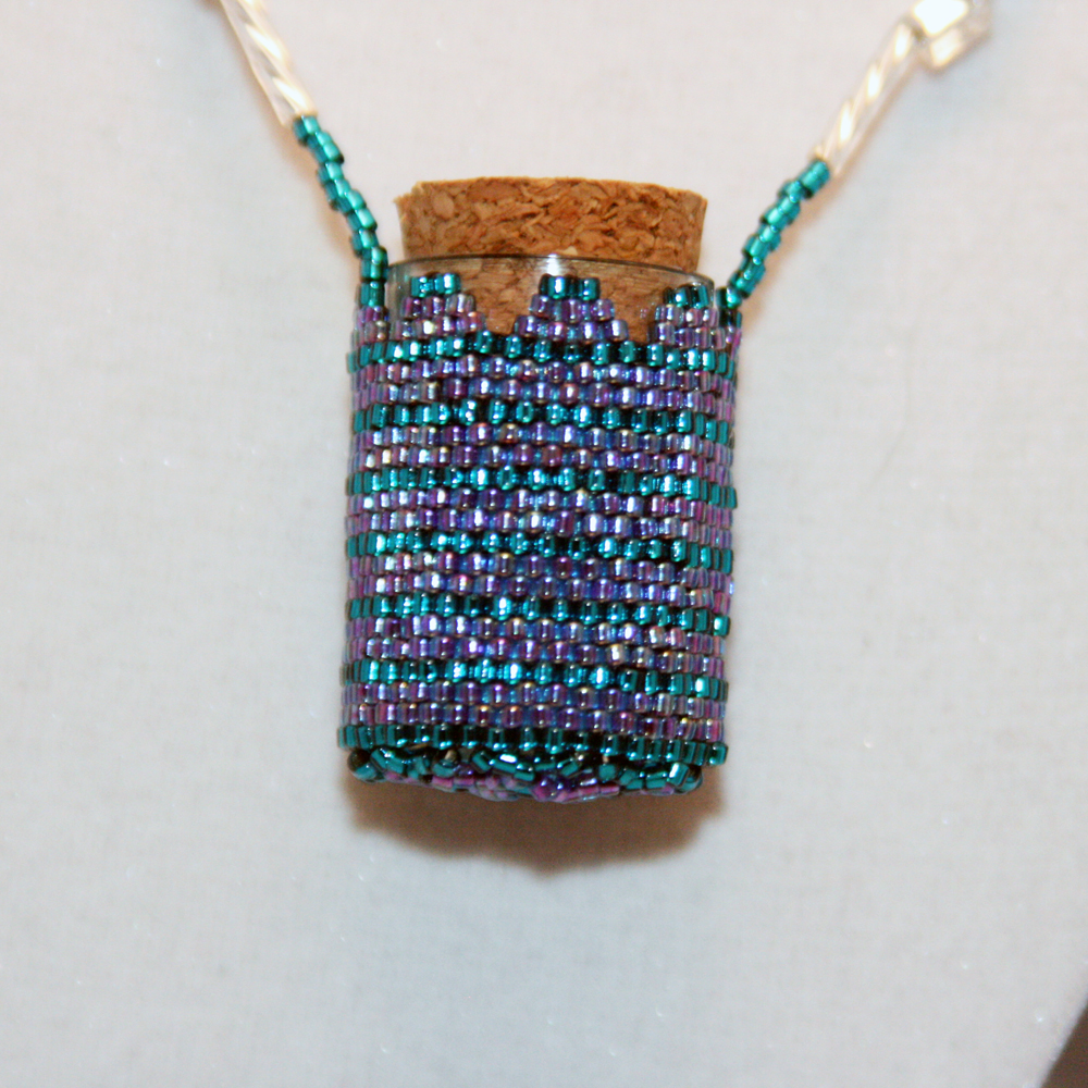 Necklace Beaded Fairy Bottle in Purple and Teal
