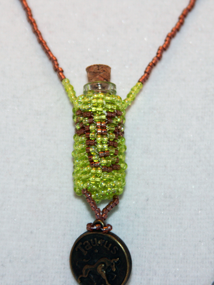 Necklace Beaded Bottle Taurus in Green and Gold with Horoscope Medallion